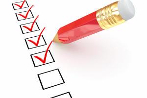 Pencil and questionnaire. 3d